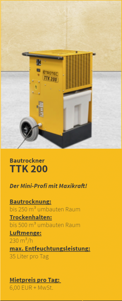 Bautrockner mieten Miete Bautrockung Trocknungsgeräte München kostengüstig Duregger Magazin Entfeuchtungsleistung Trocknungsdauer Mietpreis Mietgeräte TTK 200