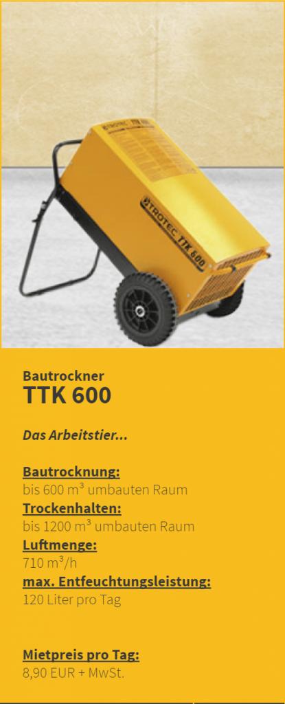 Bautrockner mieten Miete Bautrockung Trocknungsgeräte München kostengüstig Duregger Magazin Entfeuchtungsleistung Trocknungsdauer Mietpreis Mietgeräte TTK 600