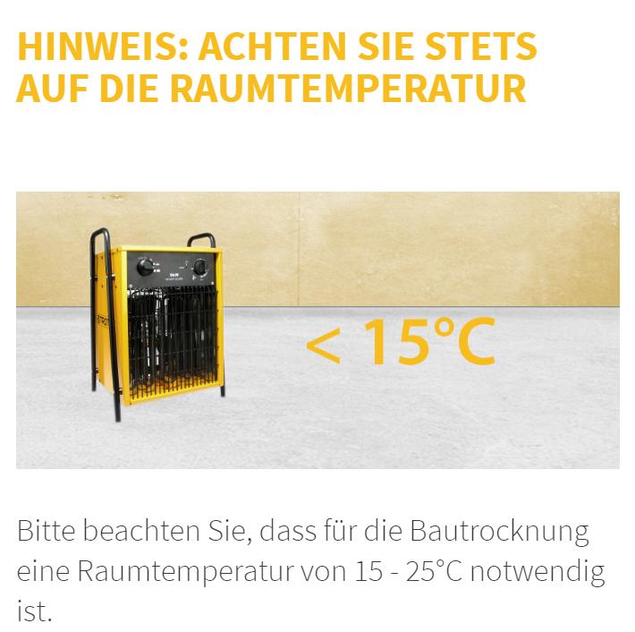 Neubautrocknung Bautrocknung Trocknungszeiten Estrich Putz Neubau Rohbau Duregger Magazin Bautrockner mieten München Raumtemperatur