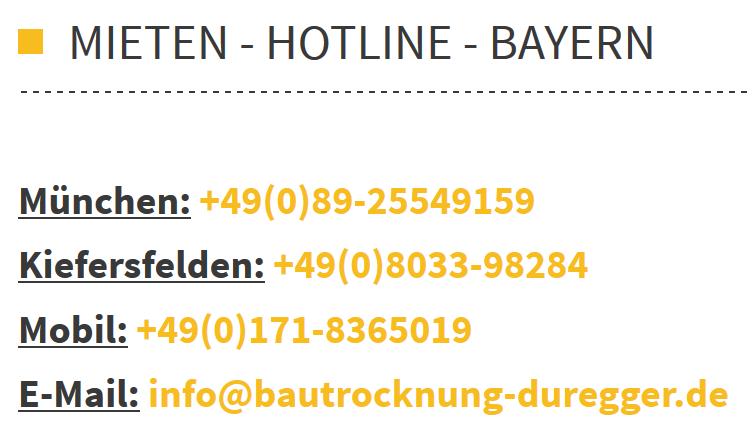 Bautrockner mieten München Bautrocknung Duregger Miete Neubau entfeuchten Wasserschaden Estrichtrocknung Putztrocknung Hochwasser Fahrtkostenberechnung Sonderziele Lieferung Bayern